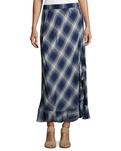 Plaid Flounce-Hem Maxi Dress