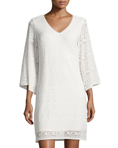 3/4 Sleeve V Neck Lace Dress