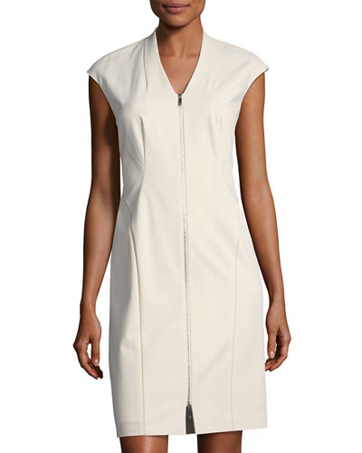 Imani Sleeveless Zip-Front Sheath Dress