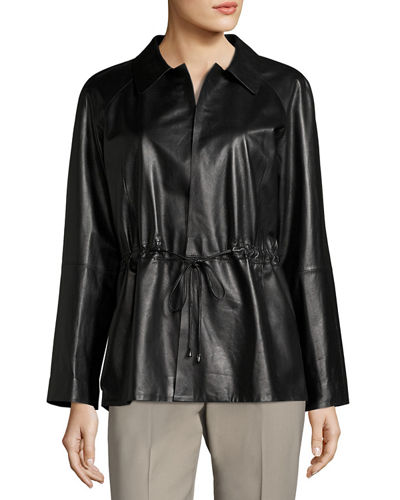 Dalia Drawstring-Waist Leather Jacket
