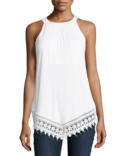 Lace-Trimmed Sleeveless Tank