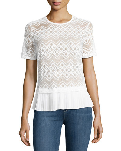 Pleated-Trim Lace Top