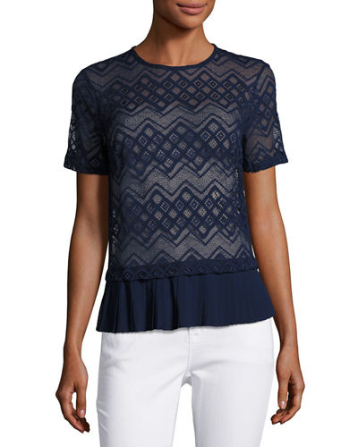 Pleated Trim Lace Top