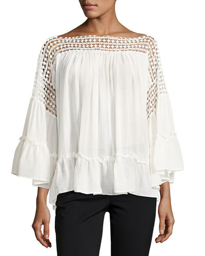 Cotton Gauze Ruffle Top