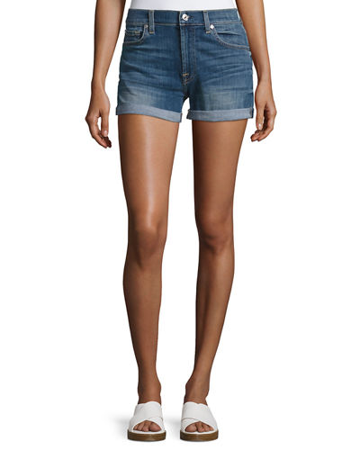 Roll-Up Stretch-Denim Shorts