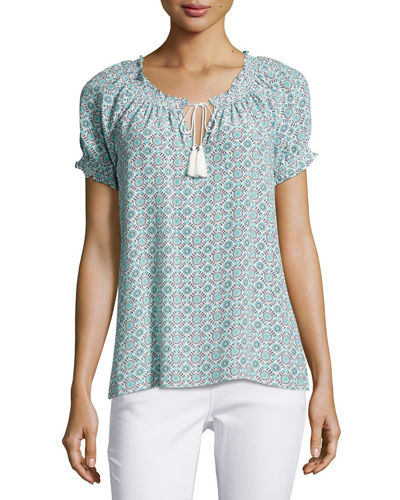 Masha Medallion-Print Top