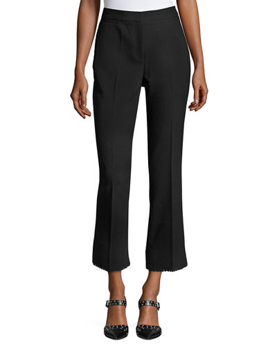 Picot-Trim Slim Ankle Pants