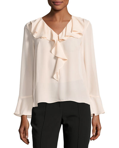 Long-Sleeve Ruffled Blouse
