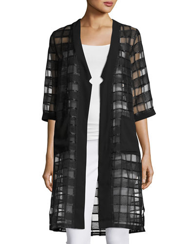Long Open Windowpane Cardigan