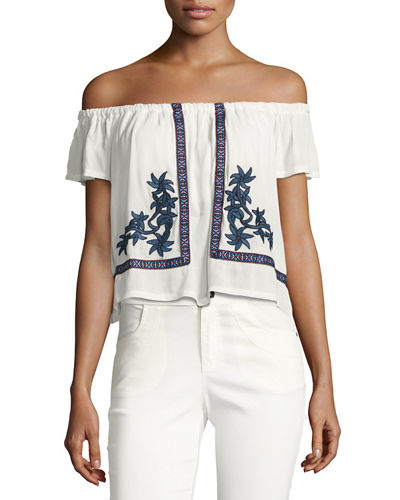 Floral-Embroidered Gauze Peasant Top