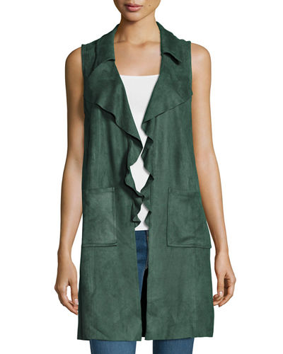 Sleeveless Faux Suede Long Vest