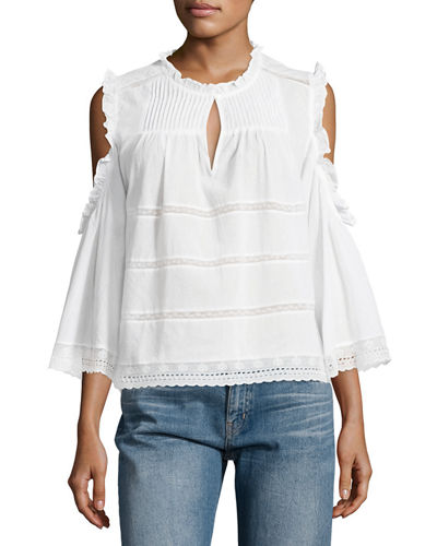 Cold-Shoulder Pintucked Blouse
