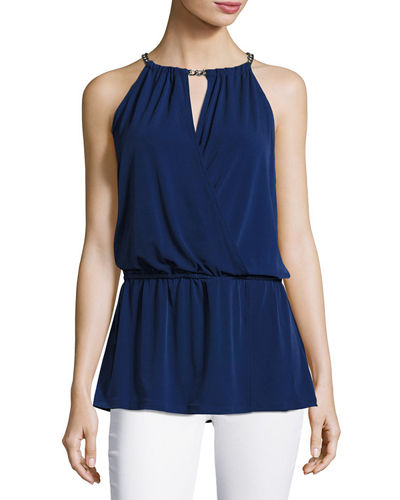Chain-Neck Halter Peplum Top
