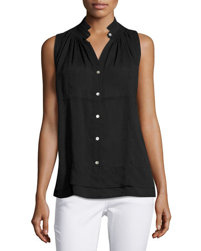 Sleeveless Collar Front Button-Down Top