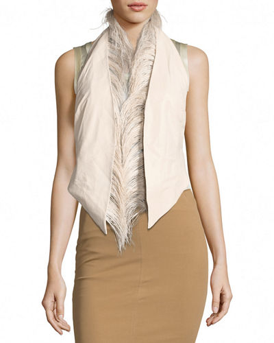 Ostrich-Trim Napa Leather Gilet Vest