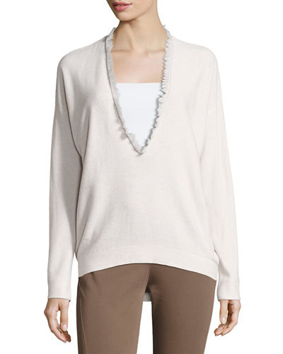 Fringed V-Neck Cashmere Sweater