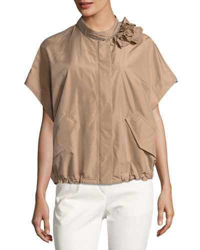 Monili Bead-Trim Lightweight Taffeta Jacket