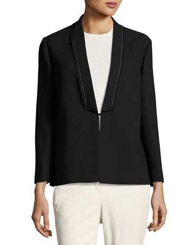 Monili Bead-Trim Wool-Crepe Blazer