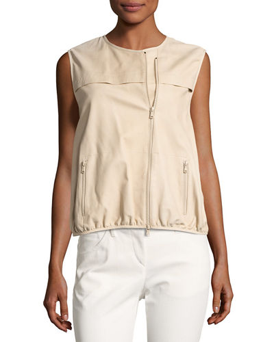 Asymmetric-Zip Napa Leather Vest