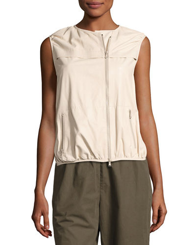 Asymmetric Zip Napa Leather Vest
