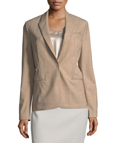 Tropical Wool Monili Bead-Trim Blazer