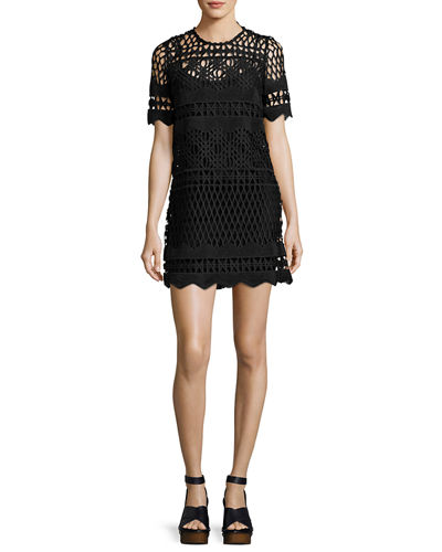 A Line Crochet Overlay Shift Dress