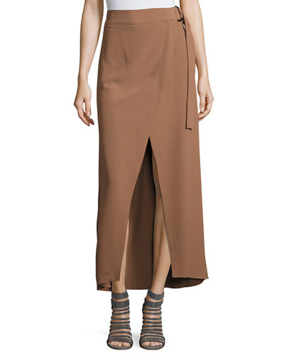 D-Ring Belt Silk-Blend Maxi Skirt