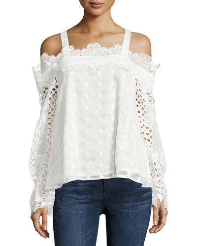 Mixed Lace Cold Shoulder Top