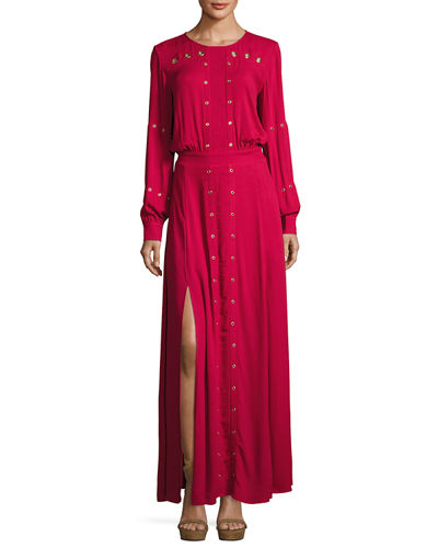 Maddox Grommet Long-Sleeve Dress