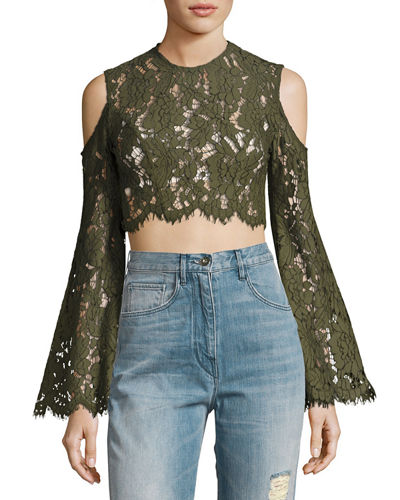 Porcelain Lace Fringe Crop Top
