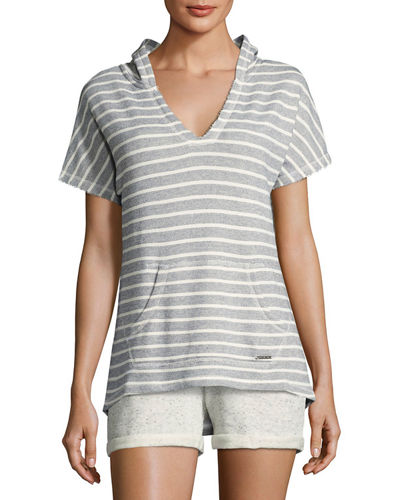 Striped French Terry Short Sleeve Pullover