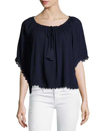 Lace-Trim Gathered-Neckline Top