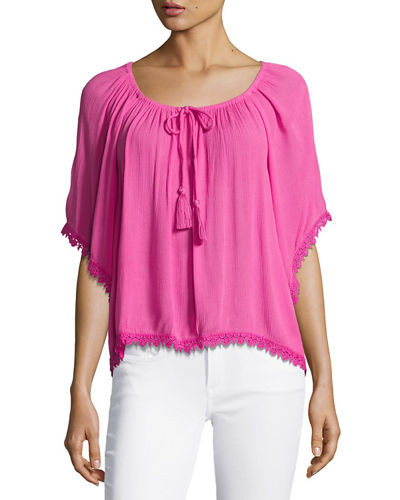 Lace Trim Gathered Neckline Top