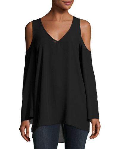 Long-Sleeve Cold-Shoulder Top