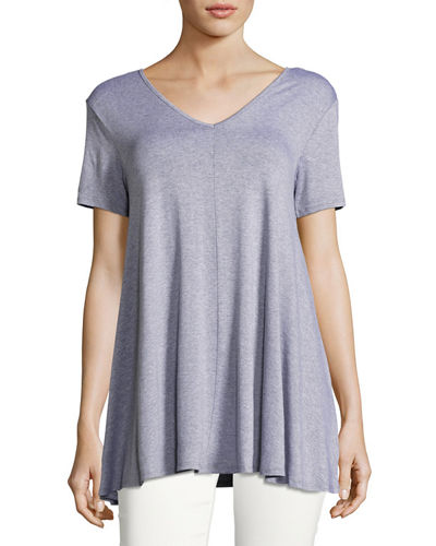 Double V Neck Swing Top