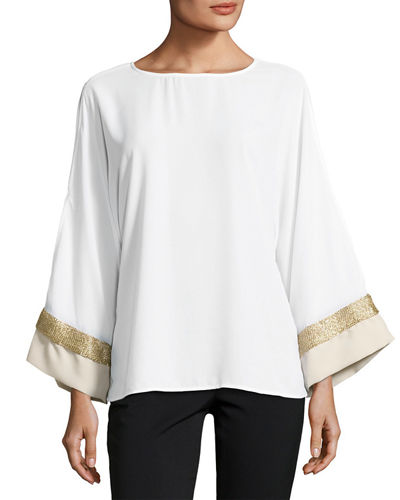 Contrast-Cuff Long-Sleeve Top
