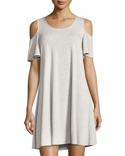 Cold-Shoulder Jersey Swing Dress