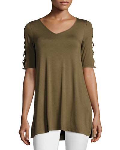 Round-Neck Swing Tunic w/ Side Slits