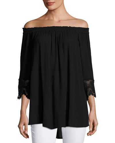 3/4 Sleeve Off the Shoulder Top