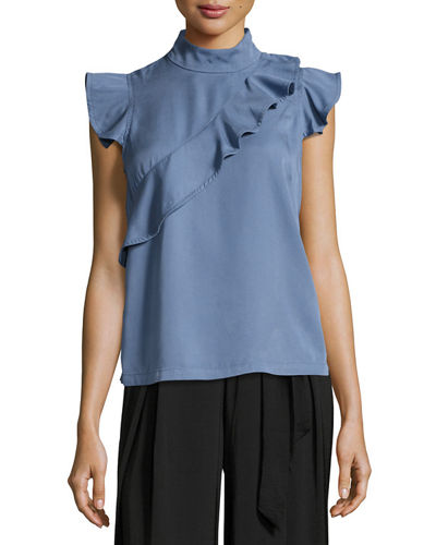 Short-Sleeve Ruffled Mock-Neck Top