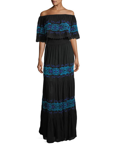 Off-the-Shoulder Ruffle-Trim Maxi Dress