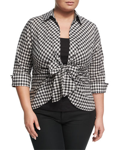 Gingham Tie-Front Blouse, Plus Size