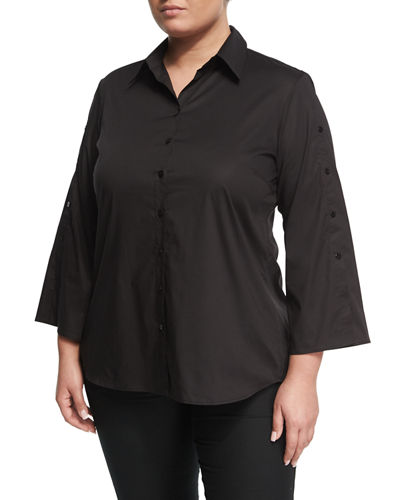Button-Detail Slit-Back Poplin Tunic, Plus Size