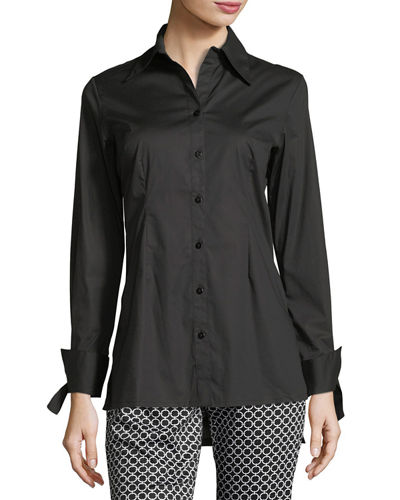 High-Low Long-Sleeve Poplin Tunic