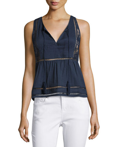 Joanna Sleeveless Lace-Back Blouse