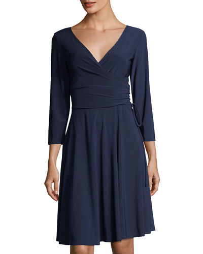 Long-Sleeve Side-Tie Jersey Dress