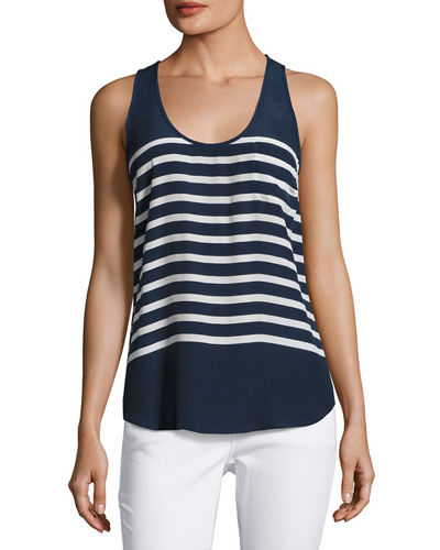 Rain B Striped Silk Tank