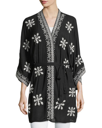 Embroidered Belted Kimono