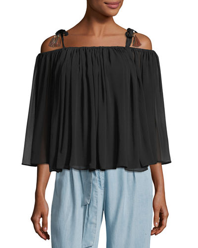 Sophia Tassel-Trim Cold-Shoulder Top