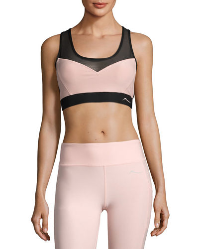 Side Strap Paneled Sports Bra